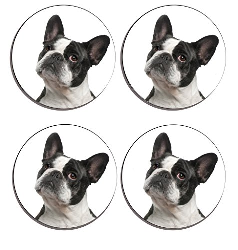 e760c3236 Frenchy Bulldog Drink Coasters ( Set of 4 ), Wooden cork Drinks mat, place