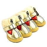 Scarpe per Cani Invernali 4 Pezzi/Set Scarpe Antiscivolo in Cotone Caldo per Animali di Piccola Taglia Chihuahua Stivali Impermeabili per Cani