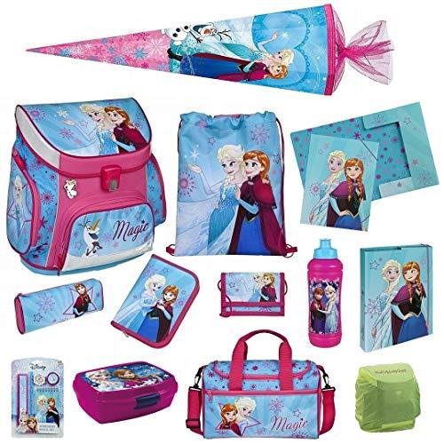 Träume 4 Stück Set (Familando Disney die Eiskönigin Schulranzen-Set 17tlg. Scooli Campus Up mit Sporttasche, Regenschutz und Schultüte 85cm)