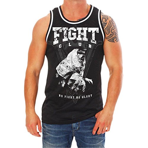 Männer und Herren Mesh Muskelshirt No Fight No Glory FIGHT CLUB Schwarz/Weiß
