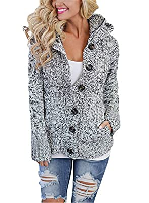 FIYOTE Womens Hooded Cable Knit Button Down Cardigan Sweaters Coat Fleece Jackets Outwear Tops