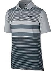 Nike Boys' Tr Dry Stripe - Polo manga corta para niño, color gris, talla XL