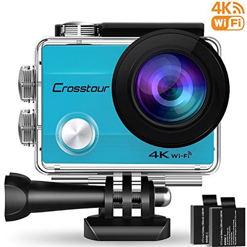 Crosstour Action Cam, Sport WIFI Camera 1080P 2'LCD Full HD Impermeabile 2 Batterie 1050mAh 170°Grandangolare e Kit Accessori per Ciclismo Nuoto e altri Sport Esterni (CT8000-B)