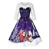 SEWORLD 2018 Elegante Damen Frauen Frohe Weihnachten Vintage Weihnachtsmann Print Spitze Abendgesellschaft Kleid Cocktailkleider(X4-violett,EU-42/CN-2XL)
