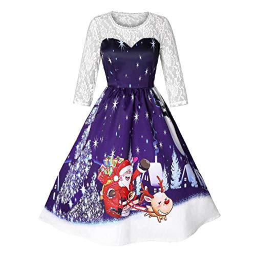 (SEWORLD 2018 Elegante Damen Frauen Frohe Weihnachten Vintage Weihnachtsmann Print Spitze Abendgesellschaft Kleid Cocktailkleider(X4-violett,EU-34/CN-S))
