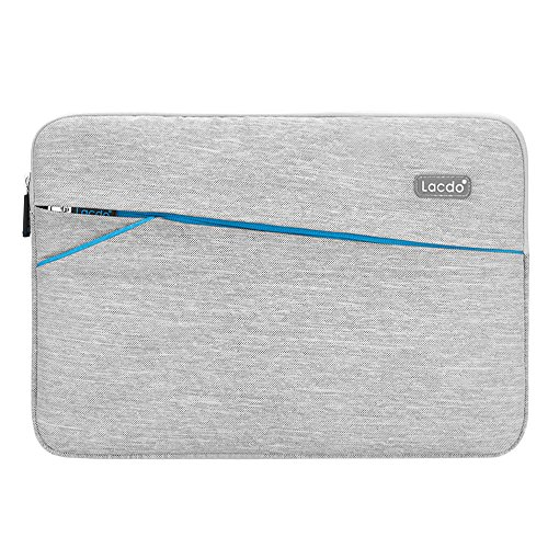 """Lacdo 13-13.3 inch Waterproof Fabric Laptop Sleeve Case Bag Notebook Carrying Case for Apple MacBook Pro 13.3-inch Retina Display MacBook Air 13"""" iPad Pro/Microsoft Surface Book Dell HP Asus, Gray"""