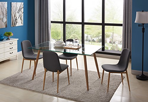 Retro Glass Dining Table and 4 Chairs Set Minimalist Kitchen Room Glass Table Wood Metal Legs Lounge Office Set of 4 - EBS Grey Fabric