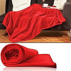 plaid couverture rouge 200x150 cm canap chambre plaid polyest re couverture cuisine. Black Bedroom Furniture Sets. Home Design Ideas
