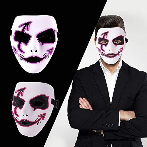 LUXACURY 1736/5000 Maskerade Party Cool Mask Weihnachtskostüm Dekor Halloween Cosplay Party Maske Led EL Draht leuchten Maske für Festival Weihnachtsfeiern Halloween Makeup Party Dekoration