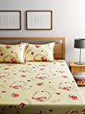 Bombay Dyeing Elements 120 TC Polycotton Double Bedsheet with 2 Pillow Covers - Yellow