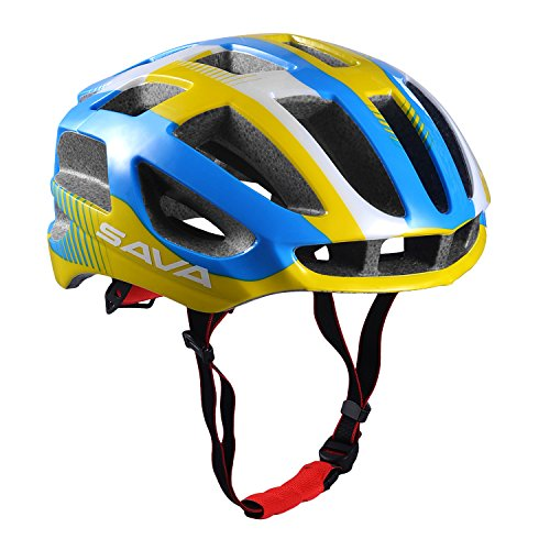 SAVA Carcasa Eco-Friendly Super Light Integralmente Ajustable Bici de Montaña del Casco de Ciclista Ultraligero Interior Acolchado Casco de Carretera (Amarillo)