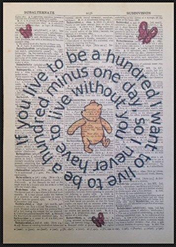 """Parksmoonprints Kunstdruck/Wandbild auf Wörterbuchseite, mit englischem """"Winnie Puuh""""-Zitat, Vintage-Stil"""