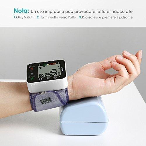 SIMBR Misuratore di Pressione da Polso Digitale per Uso Domestico Completamente Automatico e Precisione,Monitor della Pressione Arteriosa con 180 Memorie per 2 Utenti, Portatile,Certifica CE/ROHS/FDA - 2