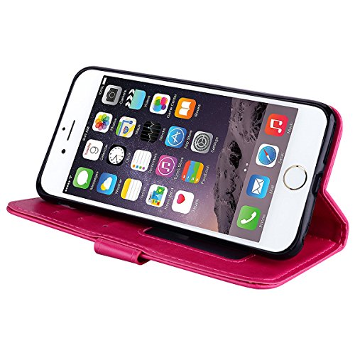 iPhone 6 Hülle , iPhone 6S Handyhülle , PU Leder Tasche Bling Einhorn-Muster Entwurf Etui Stil Schutz Flip Bookstyle Case Bumper für Magnetverschluss Lederhülle mit Stand Funktion und Brieftasche Kart Rot