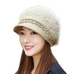 DELHI TRADERSS Womens Winter Woolen Flat Caps (White)