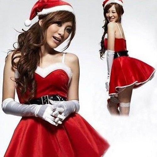 Hot para mujer Sexy disfraces de Papá Noel fiesta falda uniforme disfraz