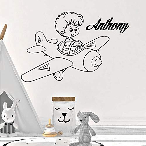 ziweipp Benutzerdefinierte Name Aviator Wandaufkleber Vinyl Decor Für Kinderzimmer Kinderzimmer Dekoration Wandtattoos adesivo de Parede 43 * 66 cm