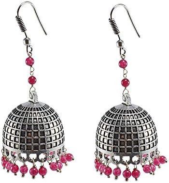 Rosa cuarzo pendientes, templo joyería india plata jhumkas-large Jhumki gitana tribal joyería por silvesto India pg-28107