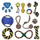 FONXA Hundespielzeug Puppy Chew Spielzeug für Kleine Hunde Set von 12Interaktives Seil Gummi Zahnen Spielzeug Langlebig und Waschbar Innen und Außenbereich Pet Geschenke für Aggressive Kauer