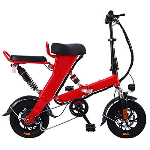 GEXING Zusammenklappbares Elektroauto 3 Modi Geschwindigkeit bis zu 28 km, Motor 48V / 250W, Aluminiumrahmen Erwachsenen Elektrofahrrad (Color : Red, Size : C-(Power Lasting 160km))