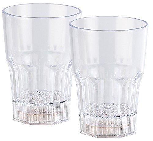 Lunartec Gläser mit LED Licht: 2er-Set Longdrink-Gläser mit LED-Farbwechsler, je 350 ml (LED Becher)
