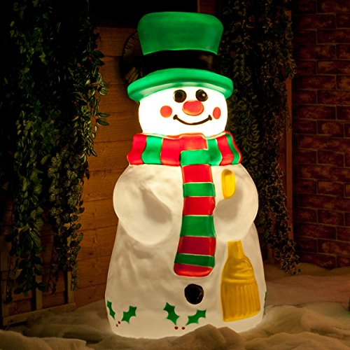 Festive Lights strombetriebene, beleuchtete Weihnachtsfiguren, Verschiedene Motive und Größen, für Innen und Außen, (Schneemann 107cm)