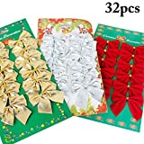 Justdolife 36PCS Weihnachtsbowknots Festliche Weihnachtsbaum Dekor Süßigkeits Beutel Bogen Hängende Verzierung