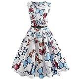 VEMOW Heißer Elegante Damen Mädchen Frauen Vintage Bodycon Sleeveless Beiläufige Abendgesellschaft Tanz Prom Swing Plissee Retro Kleider(Weiß 5, EU-34/CN-S)