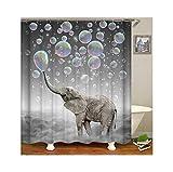 MaxAst Duschvorhang Badewanne Grau Elefant, der Luftblasen durchbrennt Duschvorhang Wasserdicht...