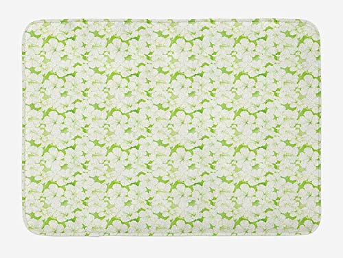 MSGDF Green and White Bath Mat, Flower Silhouettes Indigenous Hawaii Hibiscuses Arrangement, Plush Bathroom Decor Mat with Non Slip Backing, 23.6 W X 15.7 W Inches, Apple Green and White