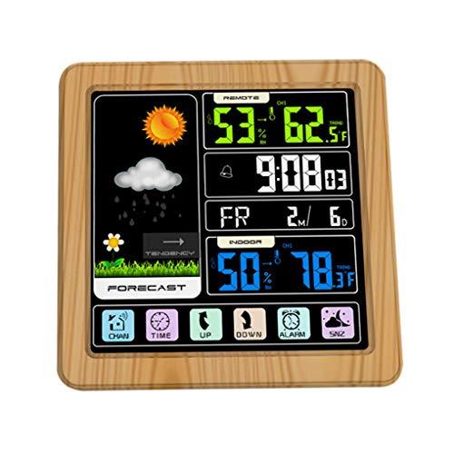 Idyandyans Voll Touchh Wireless-Wetterfarb Uhr Innen Außen-Temperatur-Feuchtigkeits-Messinstrument-Support Sieben Sprachen