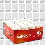 DecoLite Set: 48 Teelichthalter Glas (Sandra Rich) inkl. 48 Teelichter mit 8 Stunden Brenndauer und durchsichtigem Becher (bolsius)