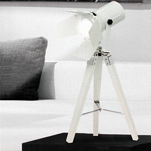 Tripod Stativleuchte mit Scheinwerfer E27 H65cm Weiß von Grundig Dreibein Stehlampe Stehleuchte Studioleuchte Studiolampe Stativlampe