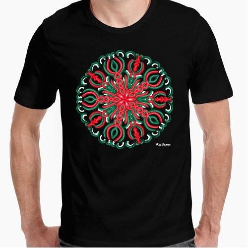 Camiseta - diseño Original - Quietud (Mandala para los Amigos Mexicanos) - XXL