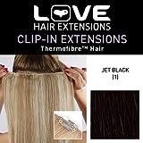 Amor Extensiones de cabello - IPL / K1 / QFC12 / 18/1 - termofibra (TM) - Barrette único Extensiones Clipper - color 1 - Jet Black a - 46 cm