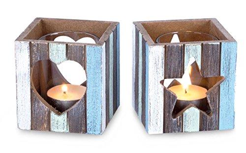 levandeo 2er Set Windlichter 7,5 x 8 cm Teelichthalter Holz Blau Weiß Herz Stern Maritim Glas Deko Kerzen
