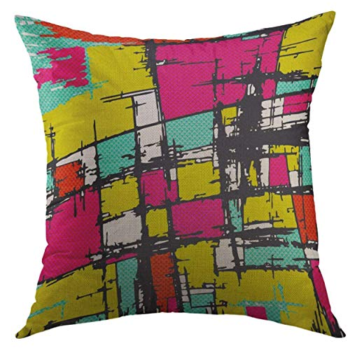 FPDecor Pillow Cover Colored Line Native American Freehand Sketch of North Indian Hand Drawings Are in Layers Groups is Home Decorative Square Kissenbezug, 18x18 Inches Pillowcase Native American Indian Cover
