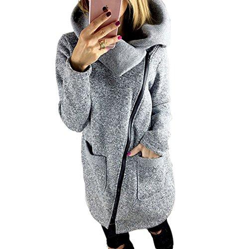 BAINASIQI Frauen Winter Warm Casual Hoodies Lange Reißverschluss Kapuzenpullover Jacke Mäntel (XXL, Grau)
