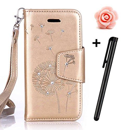 Custodia periPhone 7 2016, custodia a portafoglio iPhone 7, Toyym 3D di lusso brillante con glitter strass a motivo con farfalla e fiore design a libro in similpelle funzione protettiva cover con por Gold Dandelion
