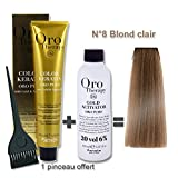 Lot coloration cheveux 100 ml Oro Therapy blond clair 8/ + oxydant 20 volumes 150 ml