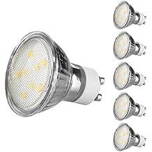 Ascher Confezione da 5 GU10 4W Lampadine LED, Pari a Lampadine Alogena da 50W, 420LM, Luce Bianco Calda, 120 Gradi Angolo del Fascio, Non dimmerabile, Lampadine a LED