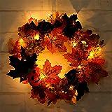 XINGKEJI Ghirlanda dolcetto o scherzetto di Halloween Ghirlanda decorativa a LED per porta dingresso invernale con foglia di acero Berry Pumpkin