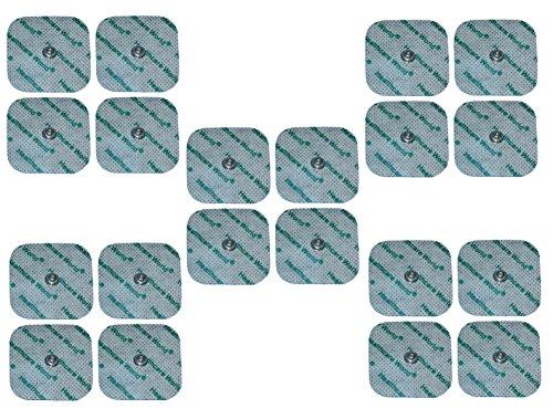 Healthcare World TENS Electrodos conjunto de 20. Adecuado para Máquinas Compex con un espárrago formada hoyuelos / cóncavo. Almohadillas cuadrados 5x5cm respaldados con gel adhesivo de alta calidad