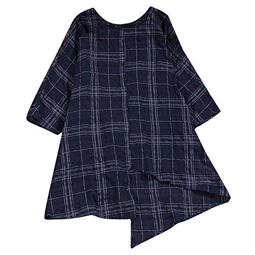 TEBAISE Oktoberfest Herbst Urlaub Frauen Reisen Strand Tanz Charming Vintage lose Baumwolle Leinen Hülse mit DREI Vierteln Plaid Shirt Bluse Top(Marine,EU-50/CN-3XL) -