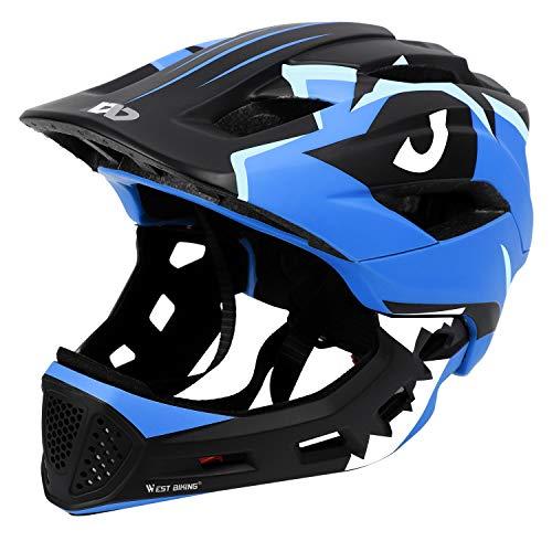 ICOCOPRO Fahrradhelme,Sicherheitsschutz für Kinder, Abnehmbar, Fullface Helm Kinder, für 5-15 Jahre,Passt für Kopfgröße 52-56, Fahrradfahren und Motorradfahren,...