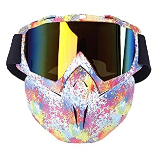 Aolvo Motorradbrillen-Maske, winddichte Gesichtsmaske mit Brille, Mehrzweck-Ausrüstung für Airsoft / Tränengas / Paintball / Skifahren / Reiten / Schneemobilfahren / Radfahren, für Kinder und Erwachsene, regenbogenfarben