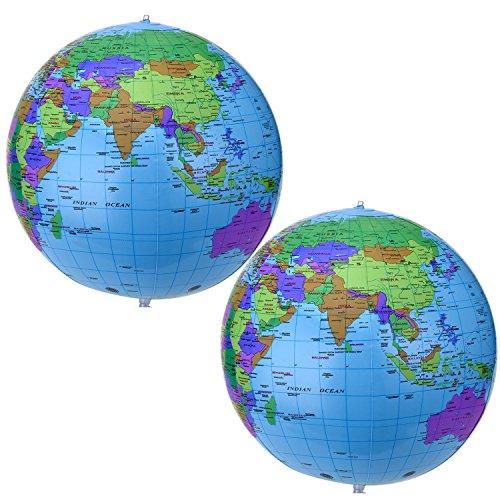 16 pollici globo gonfiabile globo da mondo gonfiabile spiaggia palla globo per il gioco educativo della spiaggia, colorato (2 pezzi)