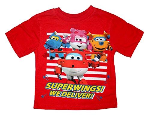 Super Wings Jungen T Shirt (116 (6 Jahre), Rot) (Super Rot T-shirt Weiches)