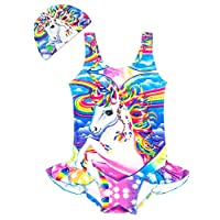 Arielno Girls One Piece Rainbow Unicorn Swimsuit Cherry Ice Cream Bathing Suits (3-4 Years, Rainbow Unicorn)