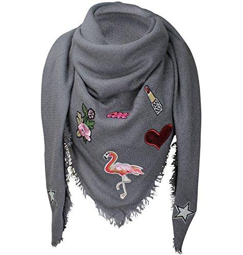 XXL PATCHES STICKER Flamingo Damen Karo Schal Tuch Karoschal Halstuch Fashion Plaid Loop Dunkelgrau (Flamingo Damen)